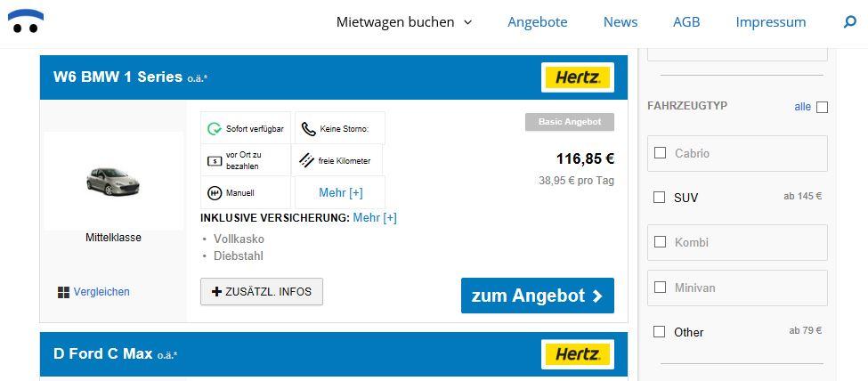 Mietwagen-Anbieter Hertz bei Mietwagen-Broker.de